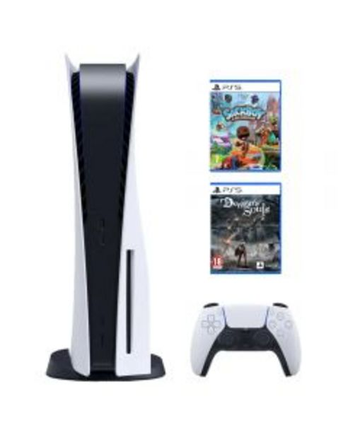 Ofertă Consola Sony PS5 (PlayStation 5), 825GB, Alb + Joc Sackboy: A Big Adventure + Joc Demon`s Souls Remake 3249,99 lei