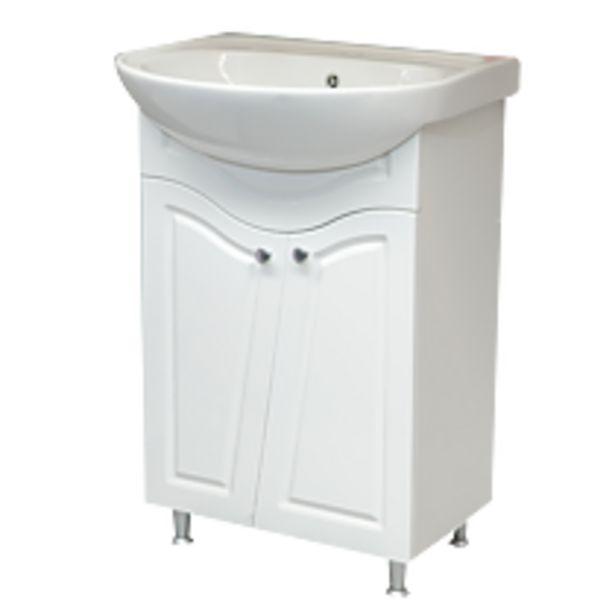 Ofertă Mobilier baie Sanitop Victoria cu baza si lavoar (lungime 58cm), ceramica/MDF infoliat, alb 339 lei