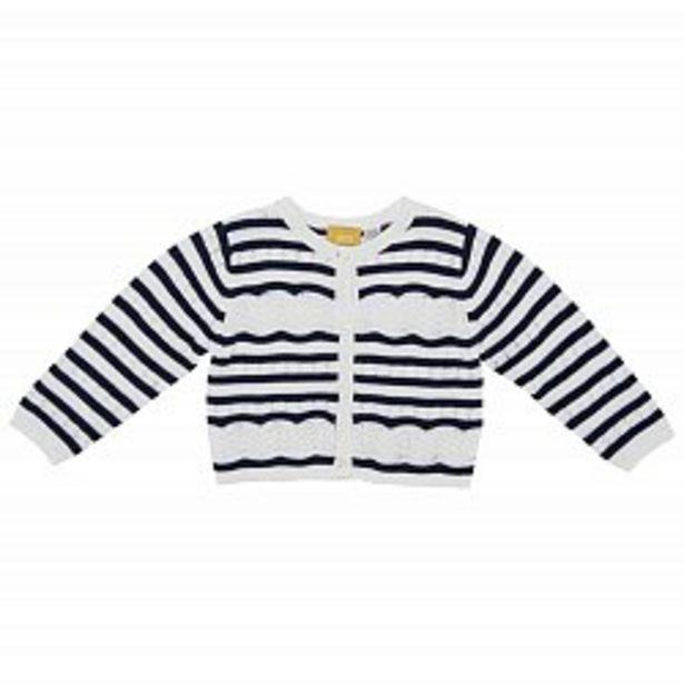 Ofertă Cardigan copii Chicco, tricotat, alb cu dungi bleumarin 94,95 lei