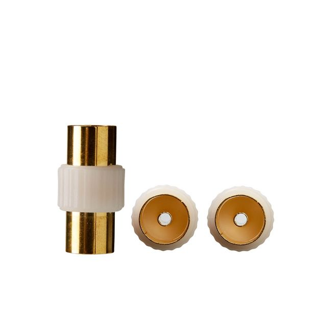 Ofertă Adaptor cablu TV Evology, coaxial, 9.52 mm, mama-mama, metal, auriu 2,19 lei
