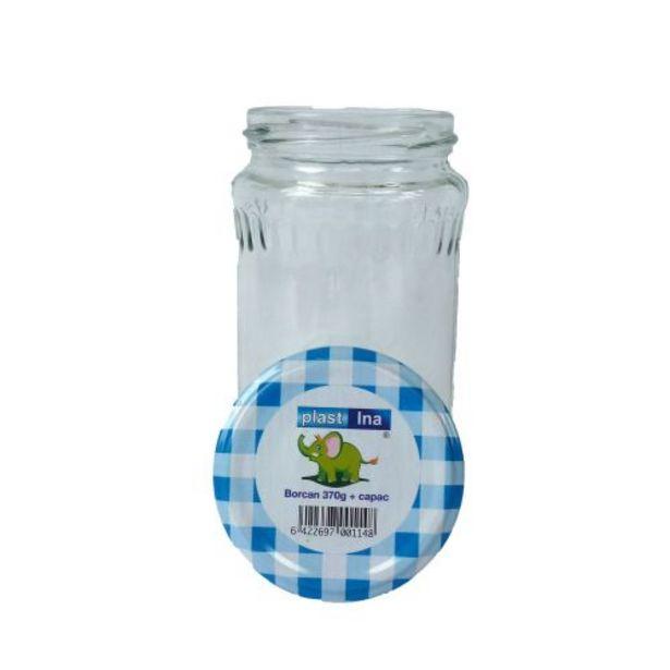 Ofertă Borcan cu capac, sticla, capac metal albastru, capacitate 370 ml 1,35 lei